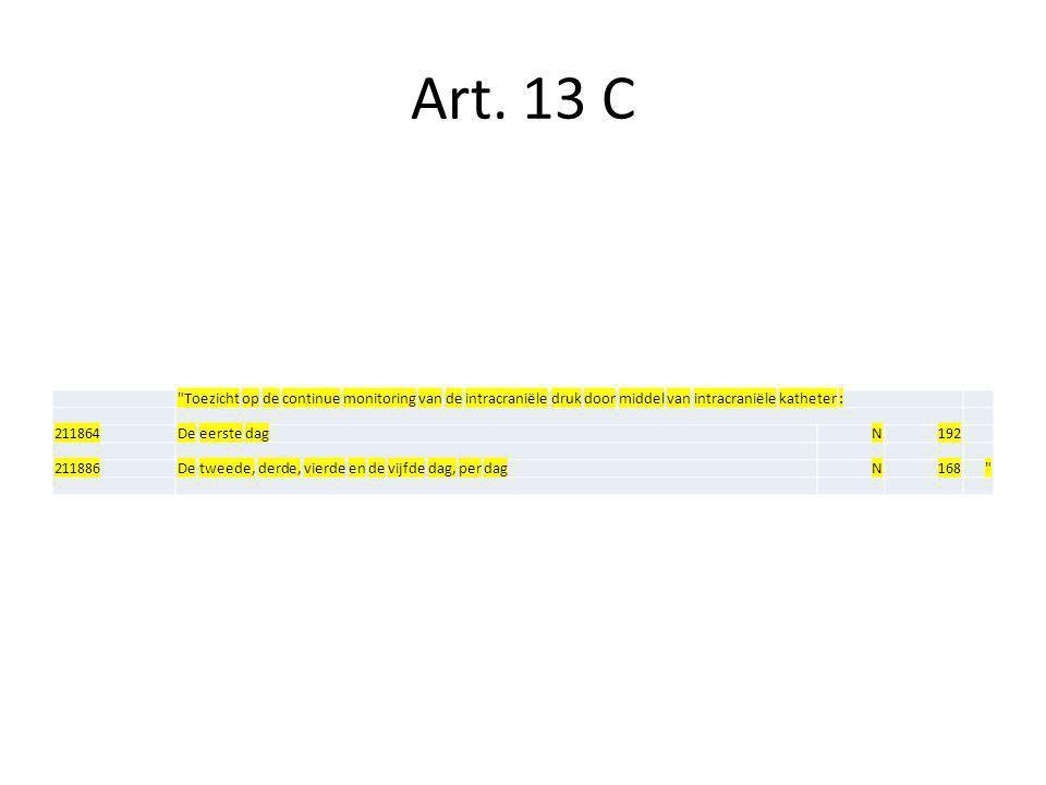 Art. 13 C Toezicht op de continue monitoring van de intracraniële druk door middel van intracraniële katheter :