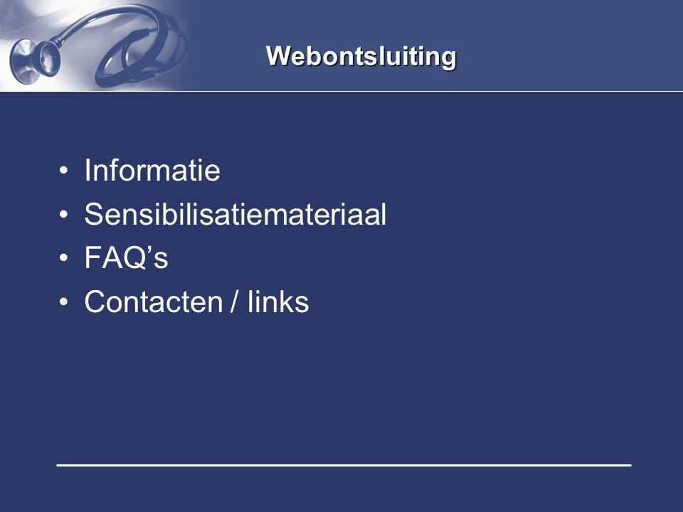 Sensibilisatiemateriaal FAQ's Contacten / links