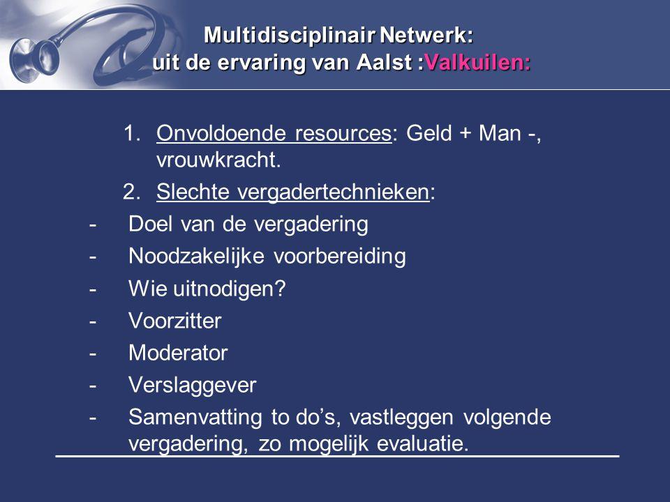 Multidisciplinair Netwerk: uit de ervaring van Aalst :Valkuilen:
