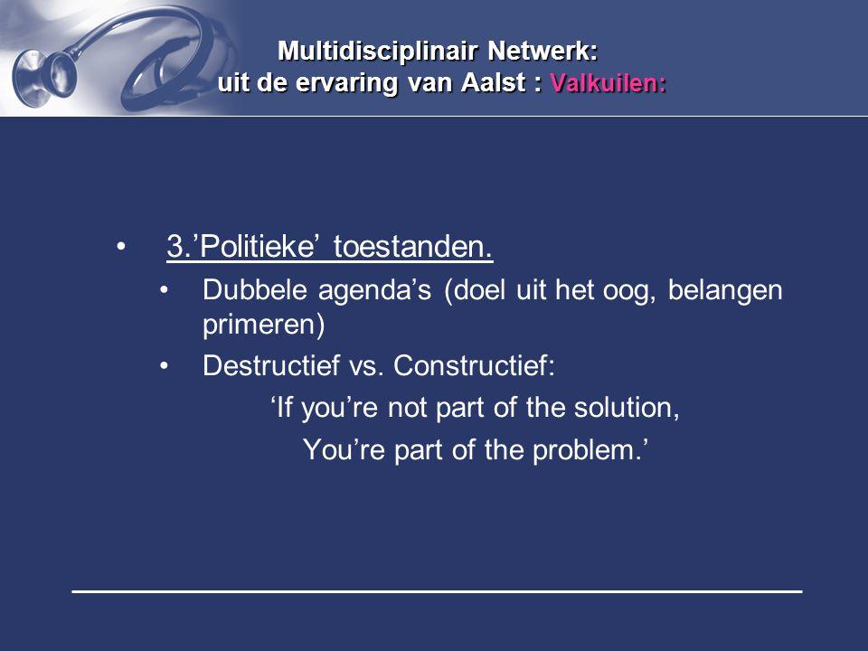 Multidisciplinair Netwerk: uit de ervaring van Aalst : Valkuilen: