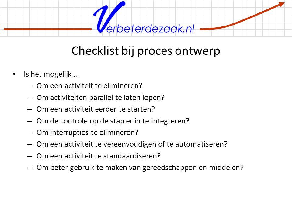 Checklist bij proces ontwerp