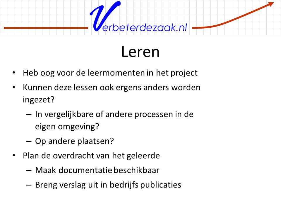 Leren Heb oog voor de leermomenten in het project