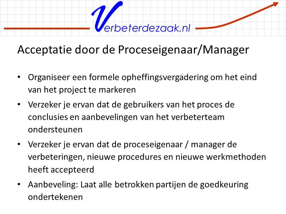 Acceptatie door de Proceseigenaar/Manager