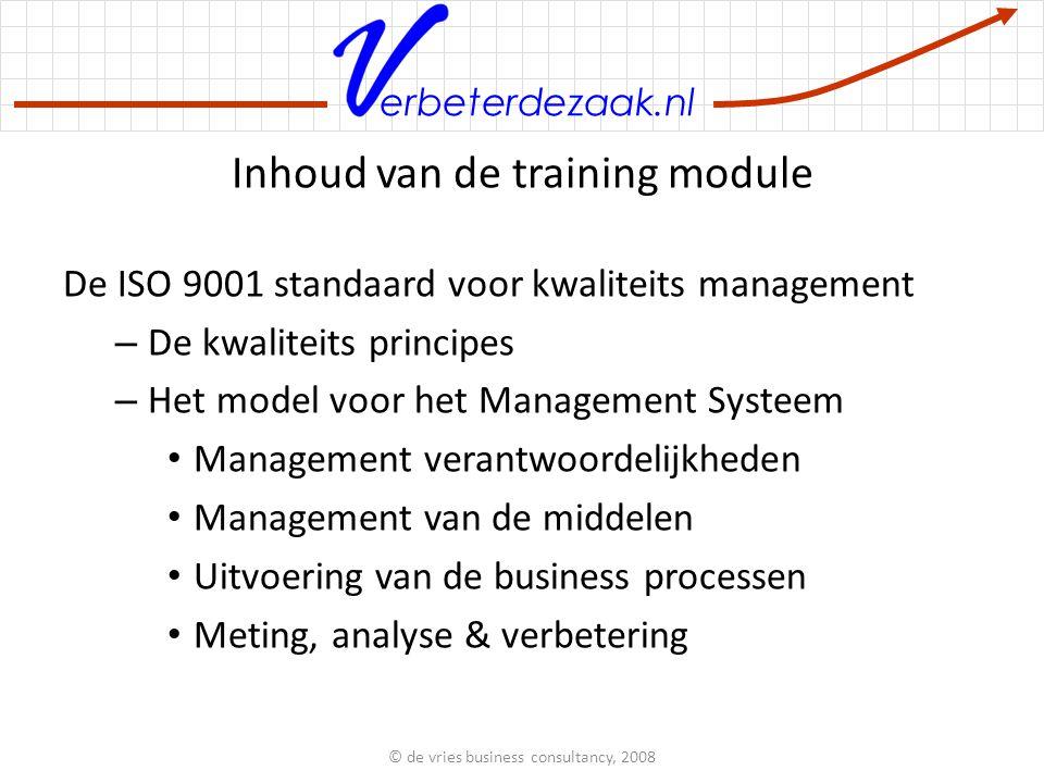 Inhoud van de training module