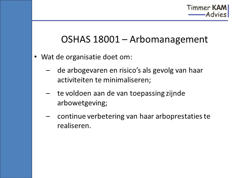 OSHAS 18001 – Arbomanagement