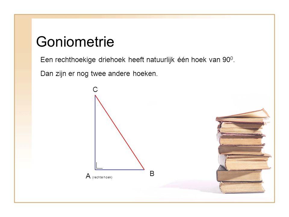 Goniometrie Een rechthoekige driehoek heeft natuurlijk één hoek van 900. Dan zijn er nog twee andere hoeken.