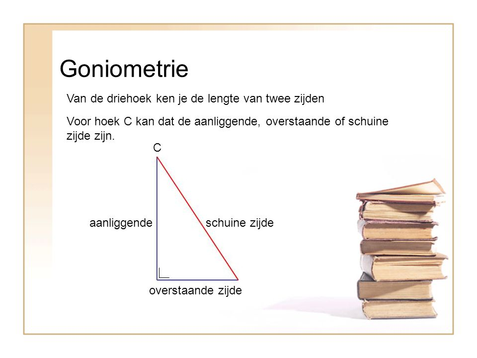 Goniometrie Van de driehoek ken je de lengte van twee zijden