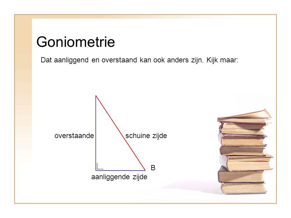 Goniometrie Dat aanliggend en overstaand kan ook anders zijn. Kijk maar: overstaande. schuine zijde.