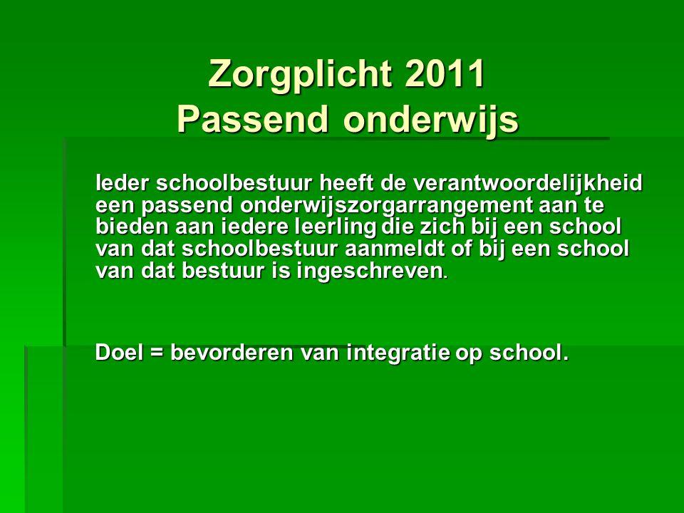 Zorgplicht 2011 Passend onderwijs