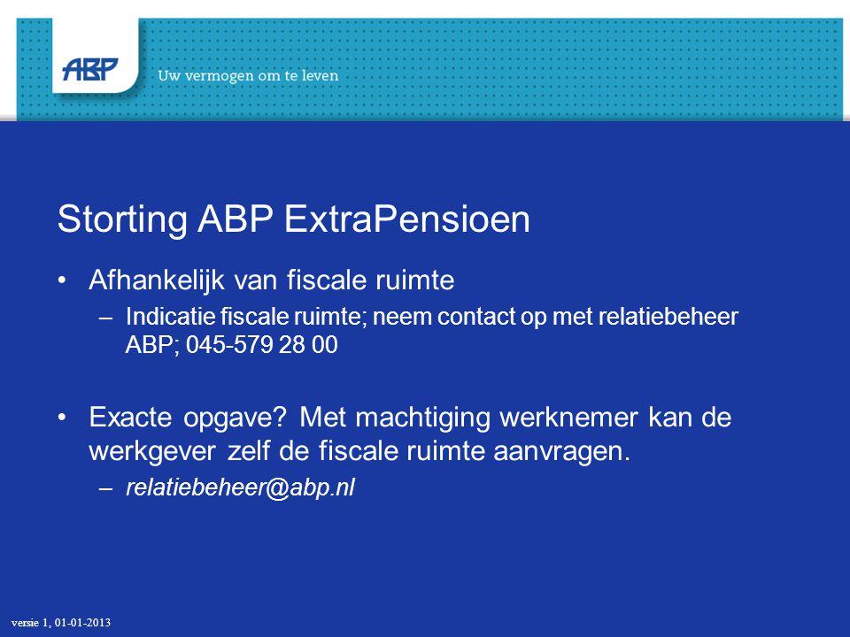Storting ABP ExtraPensioen