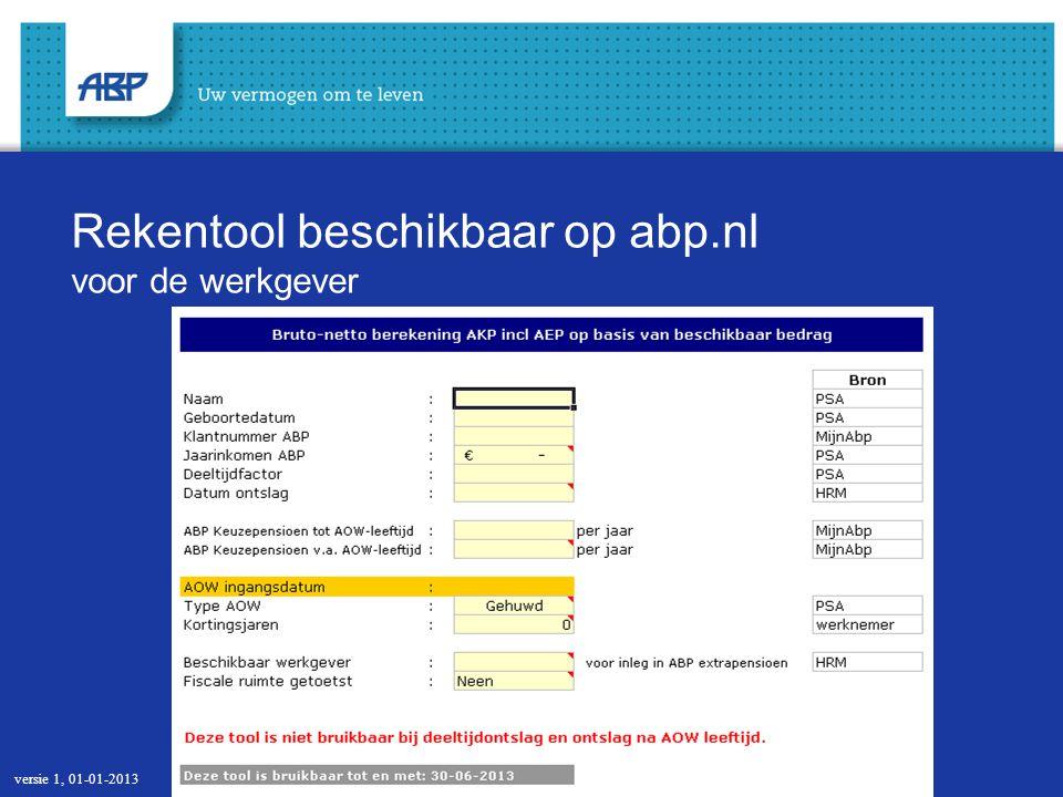 Rekentool beschikbaar op abp.nl voor de werkgever