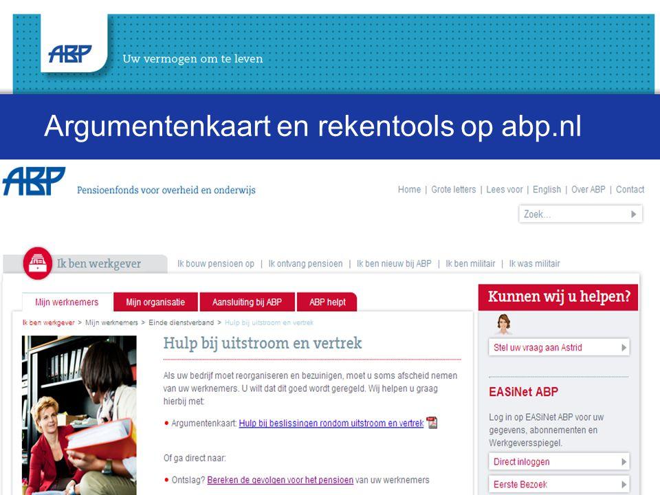Argumentenkaart en rekentools op abp.nl