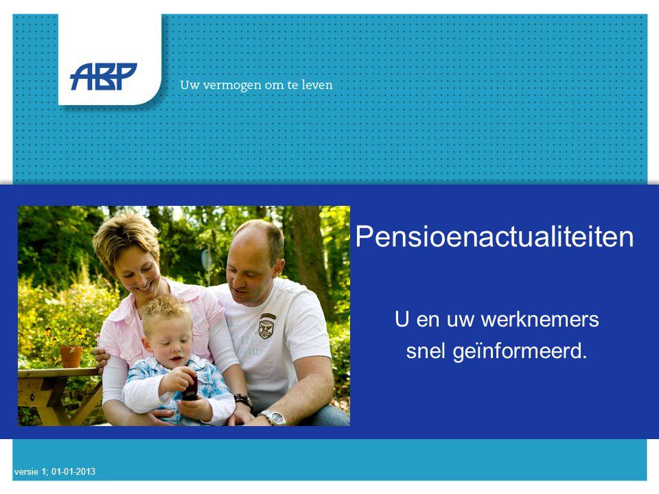Pensioenactualiteiten