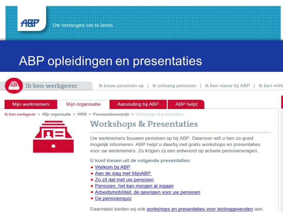 ABP opleidingen en presentaties