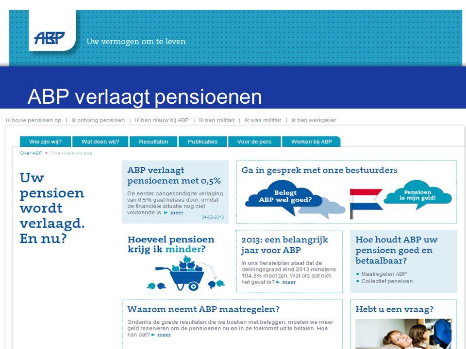 ABP verlaagt pensioenen