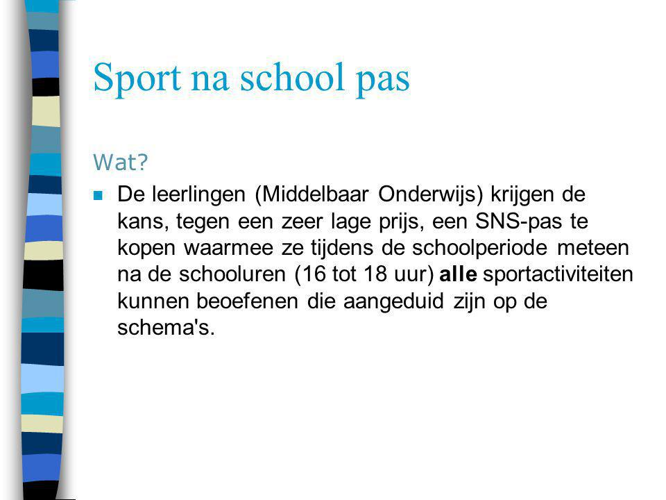 Sport na school pas Wat