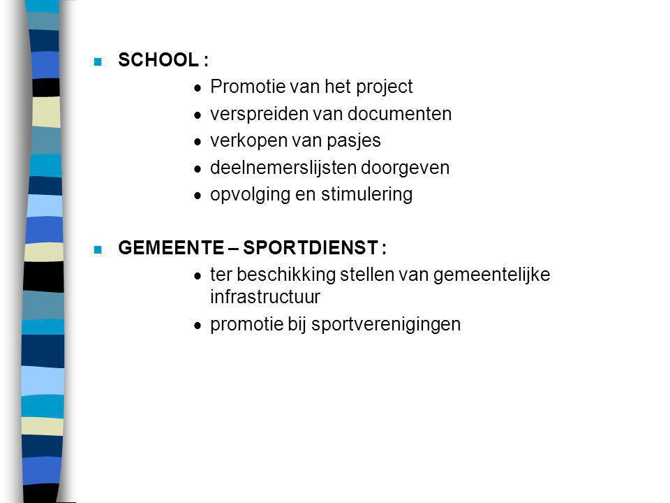 SCHOOL : Promotie van het project. verspreiden van documenten. verkopen van pasjes. deelnemerslijsten doorgeven.