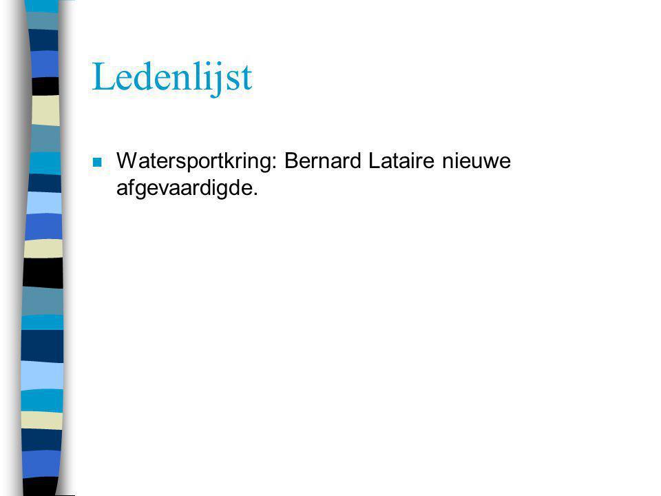 Ledenlijst Watersportkring: Bernard Lataire nieuwe afgevaardigde.
