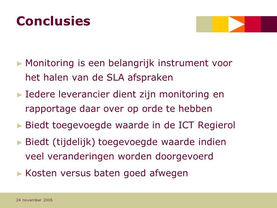 Conclusies Monitoring is een belangrijk instrument voor het halen van de SLA afspraken.