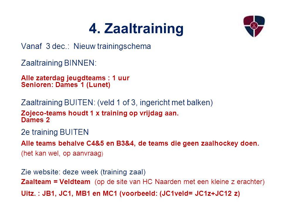 4. Zaaltraining Vanaf 3 dec.: Nieuw trainingschema