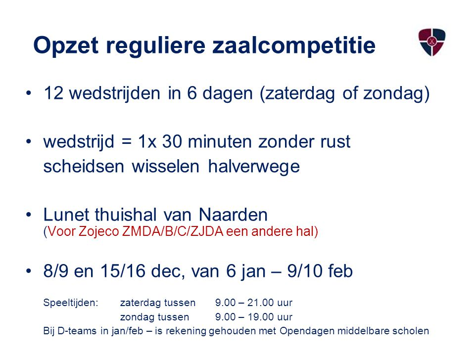 Opzet reguliere zaalcompetitie