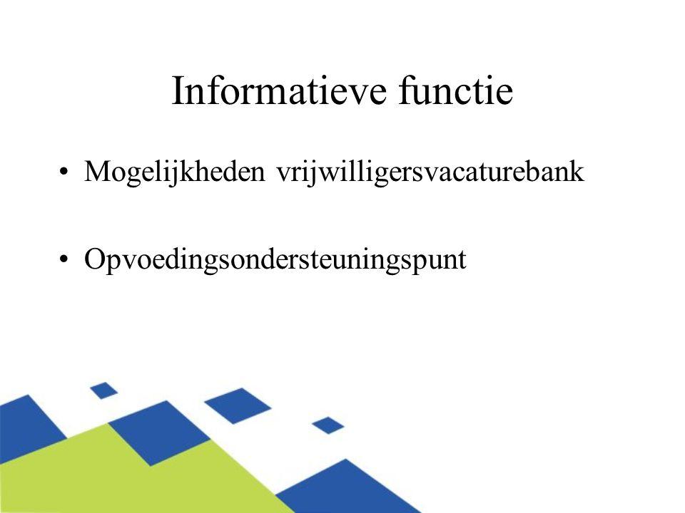Informatieve functie Mogelijkheden vrijwilligersvacaturebank