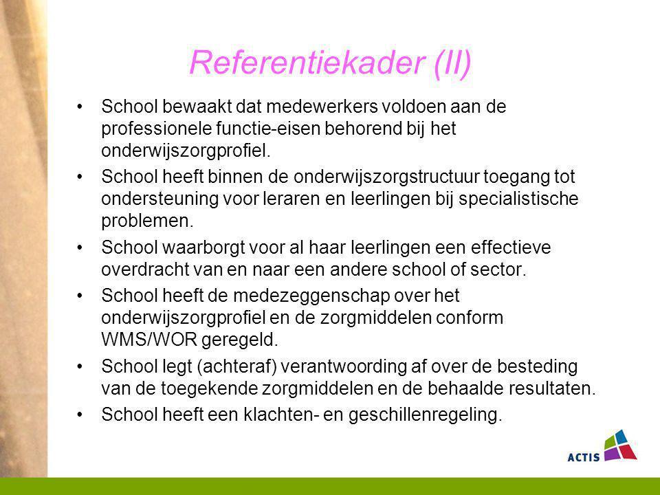 Referentiekader (II) School bewaakt dat medewerkers voldoen aan de professionele functie-eisen behorend bij het onderwijszorgprofiel.