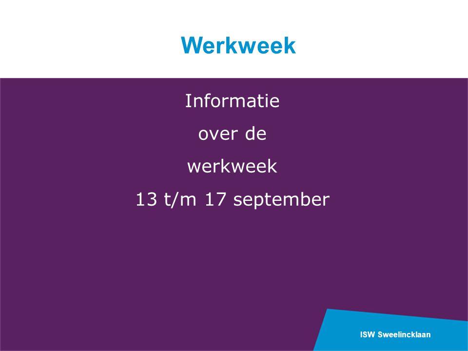Werkweek Informatie over de werkweek 13 t/m 17 september