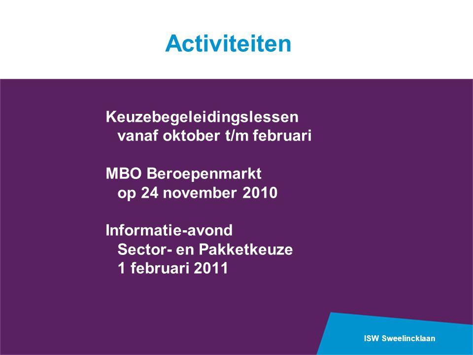 Activiteiten Keuzebegeleidingslessen vanaf oktober t/m februari