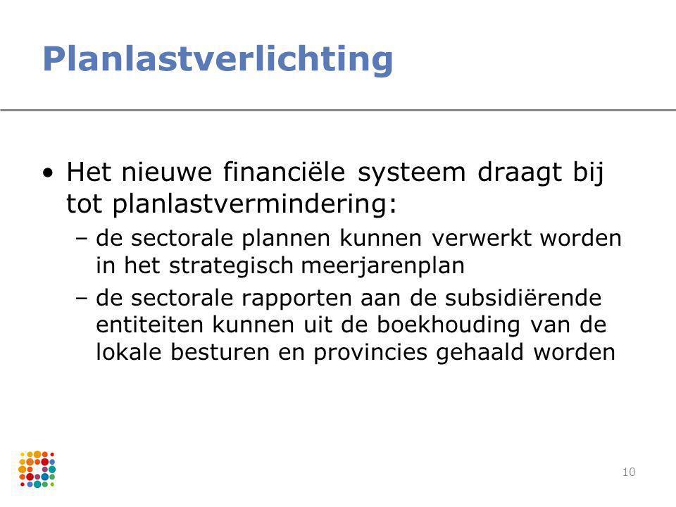 Planlastverlichting Het nieuwe financiële systeem draagt bij tot planlastvermindering: