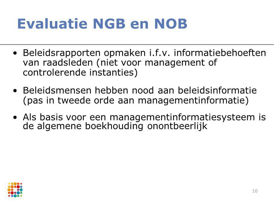 Evaluatie NGB en NOB Beleidsrapporten opmaken i.f.v. informatiebehoeften van raadsleden (niet voor management of controlerende instanties)