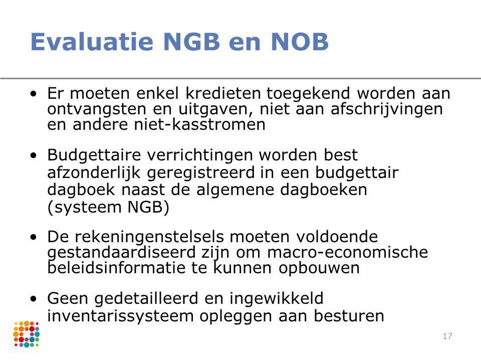 Evaluatie NGB en NOB Er moeten enkel kredieten toegekend worden aan ontvangsten en uitgaven, niet aan afschrijvingen en andere niet-kasstromen.