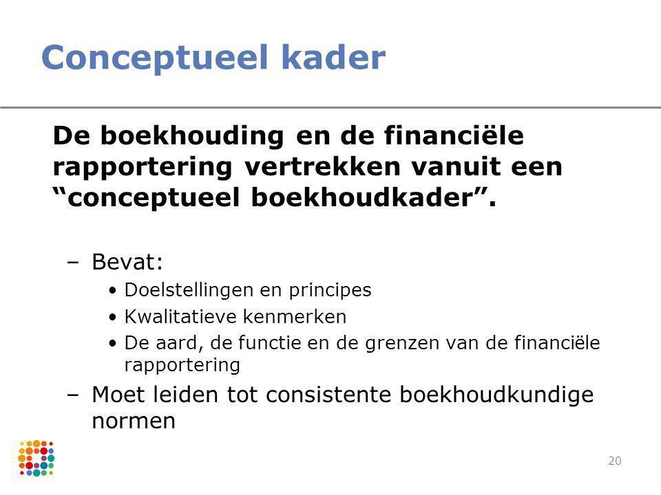 Conceptueel kader De boekhouding en de financiële rapportering vertrekken vanuit een conceptueel boekhoudkader .