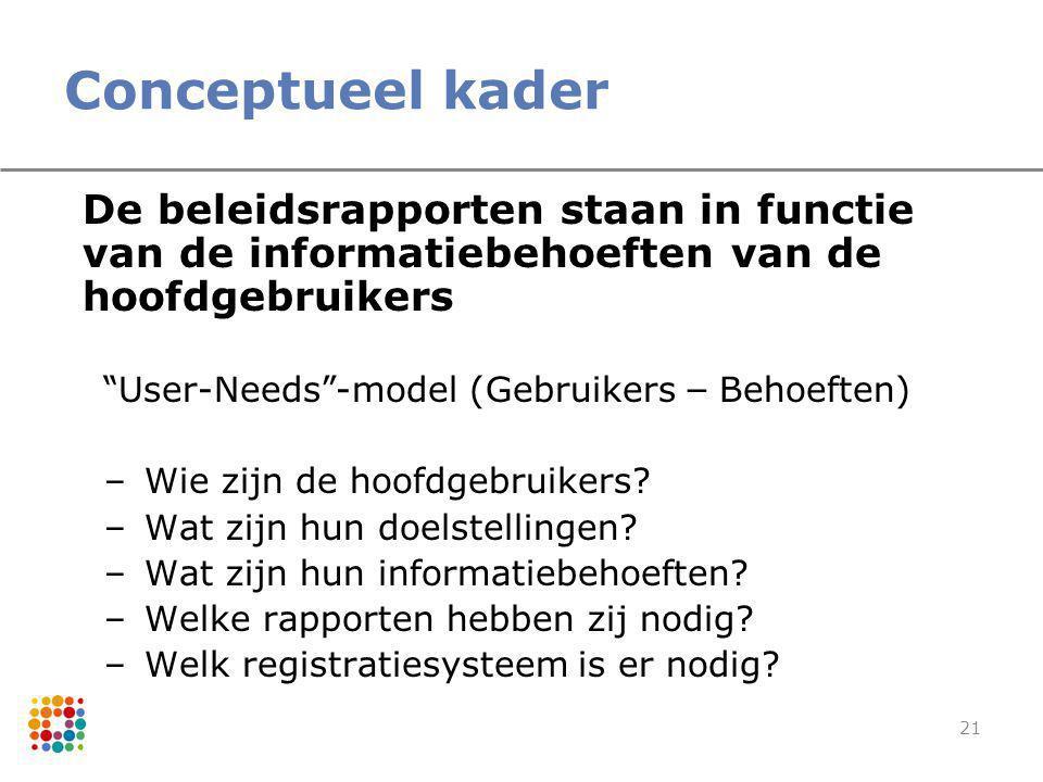Conceptueel kader De beleidsrapporten staan in functie van de informatiebehoeften van de hoofdgebruikers.