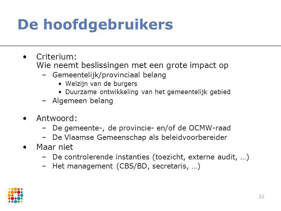 De hoofdgebruikers Criterium: Wie neemt beslissingen met een grote impact op. Gemeentelijk/provinciaal belang.