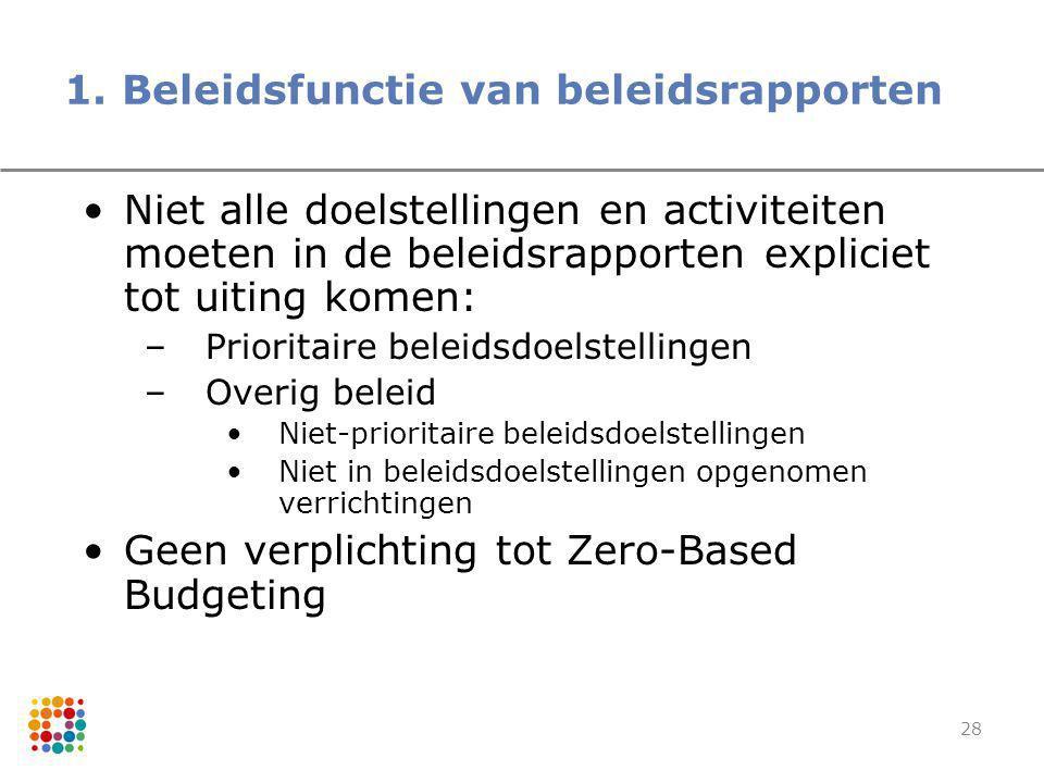 1. Beleidsfunctie van beleidsrapporten