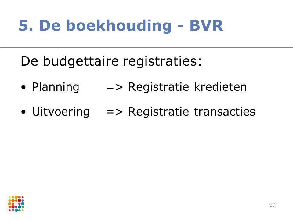 5. De boekhouding - BVR De budgettaire registraties: