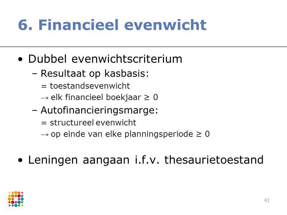 6. Financieel evenwicht Dubbel evenwichtscriterium
