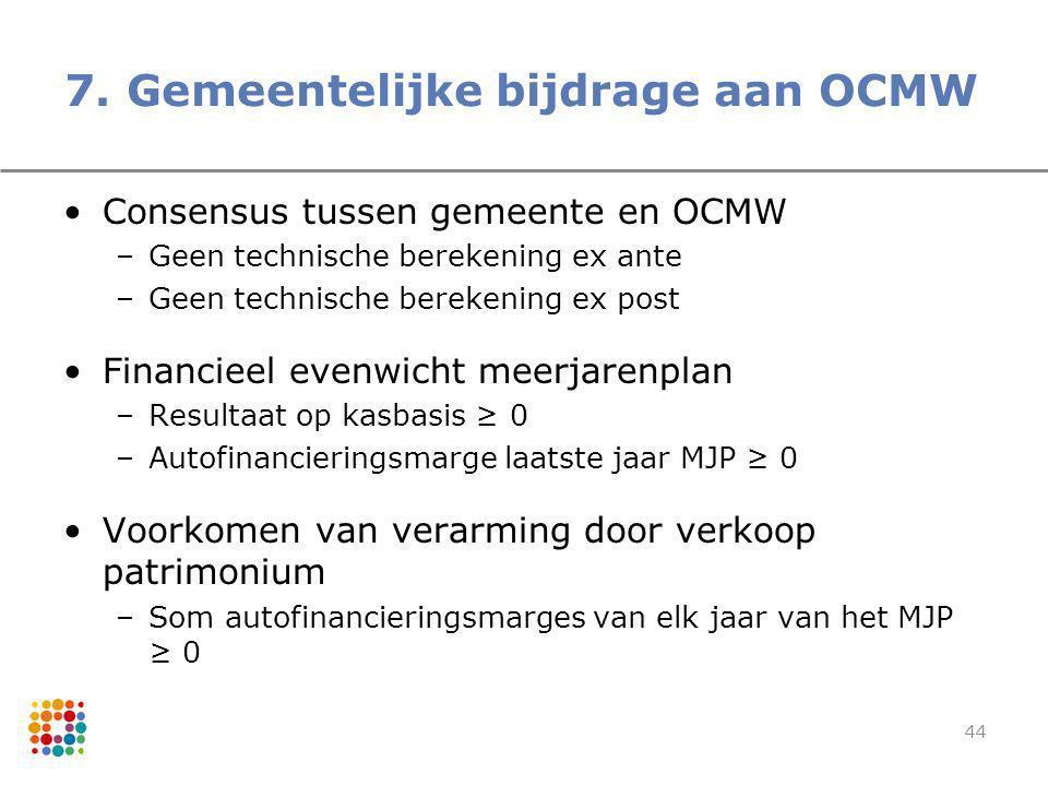 7. Gemeentelijke bijdrage aan OCMW