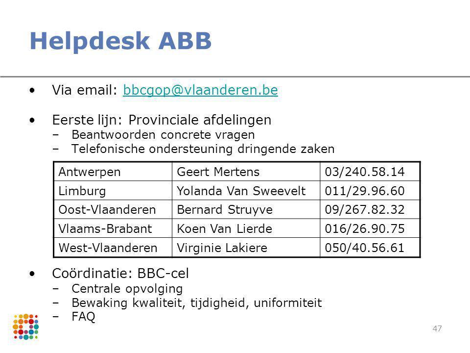 Helpdesk ABB Via email: bbcgop@vlaanderen.be. Eerste lijn: Provinciale afdelingen. Beantwoorden concrete vragen.