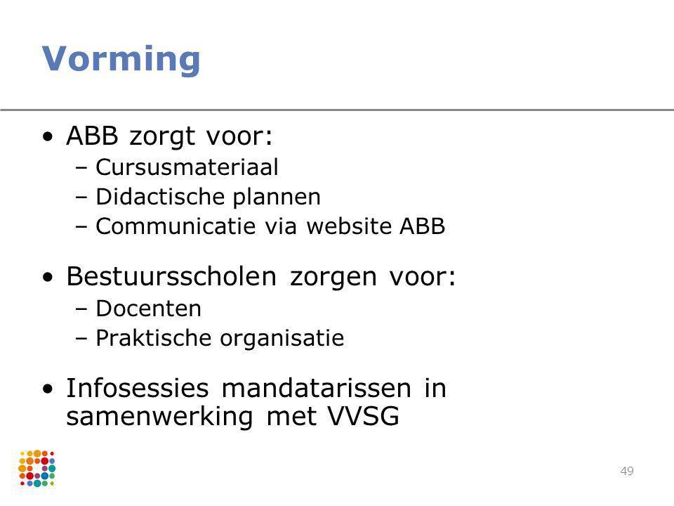 Vorming ABB zorgt voor: Bestuursscholen zorgen voor: