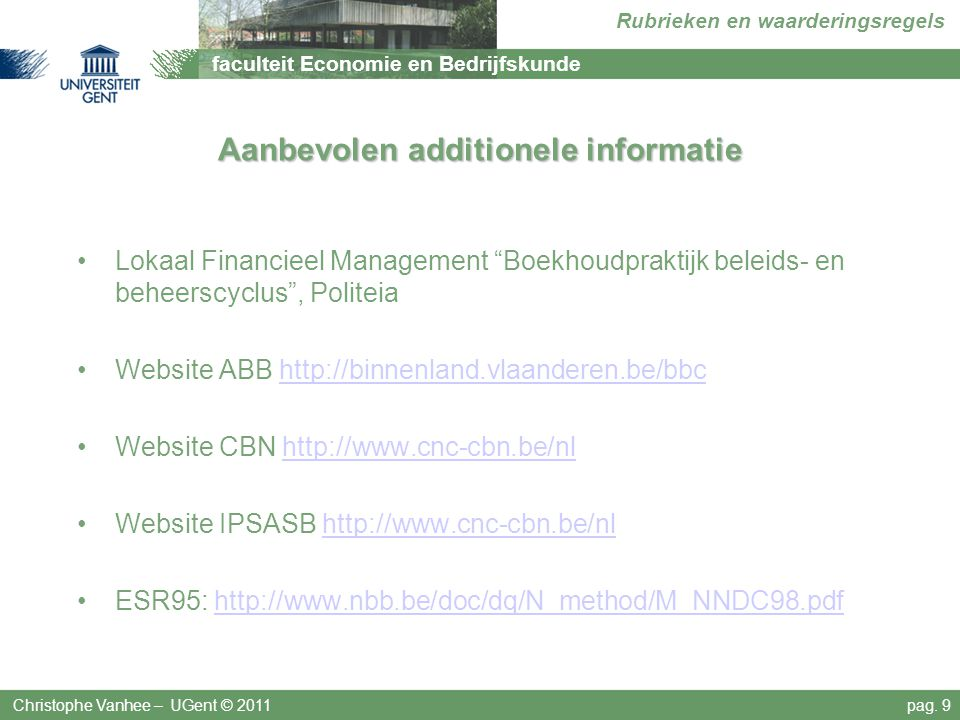 Aanbevolen additionele informatie
