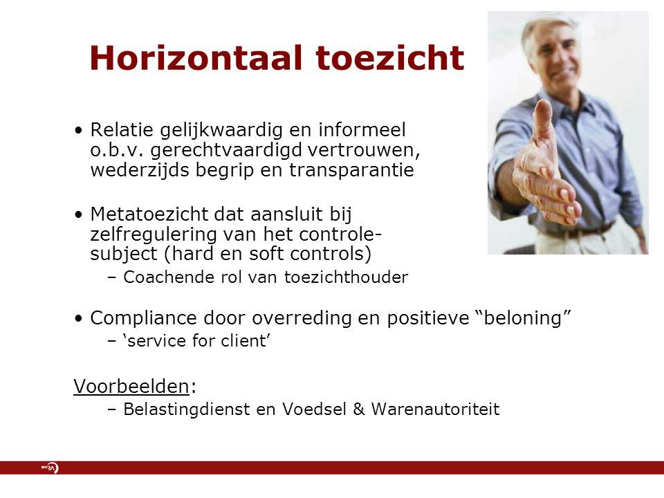 Horizontaal toezicht Relatie gelijkwaardig en informeel o.b.v. gerechtvaardigd vertrouwen, wederzijds begrip en transparantie.