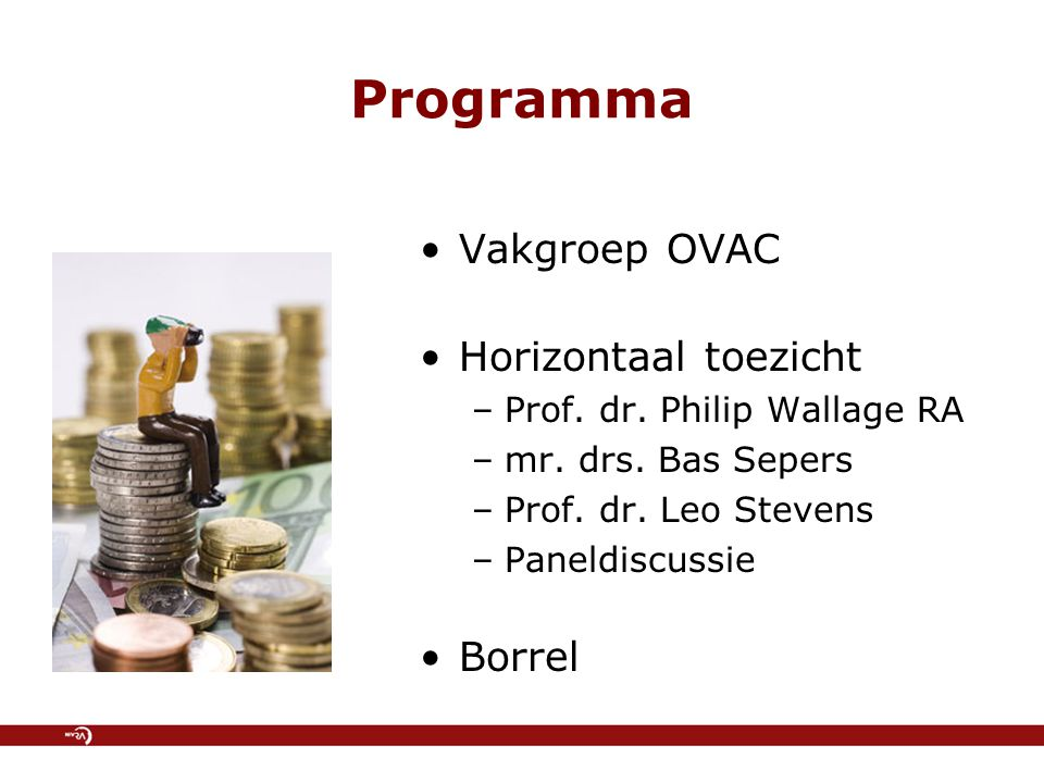 Programma Vakgroep OVAC Horizontaal toezicht Borrel