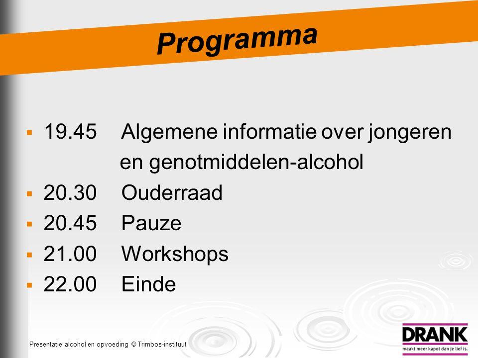 Programma 19.45 Algemene informatie over jongeren