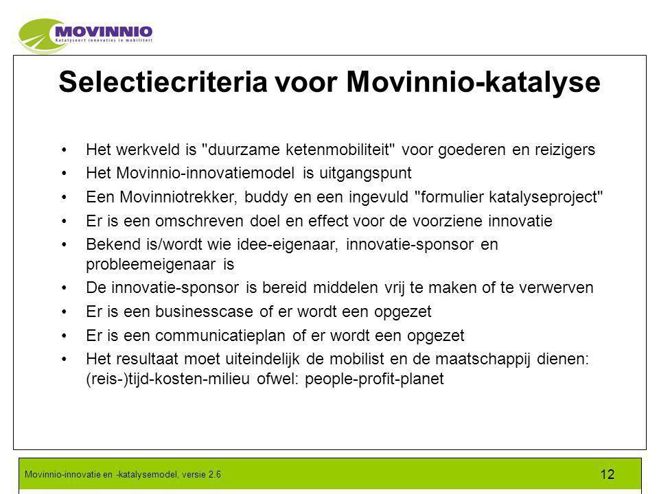 Selectiecriteria voor Movinnio-katalyse