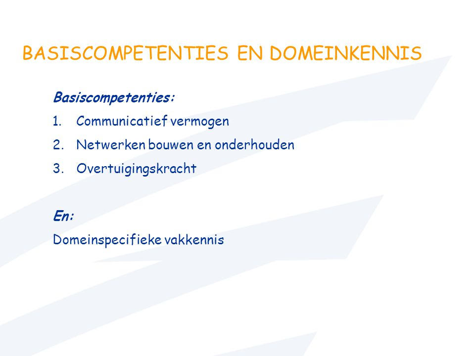 BASISCOMPETENTIES EN DOMEINKENNIS