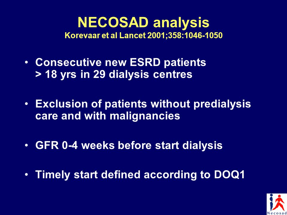 NECOSAD analysis Korevaar et al Lancet 2001;358:1046-1050