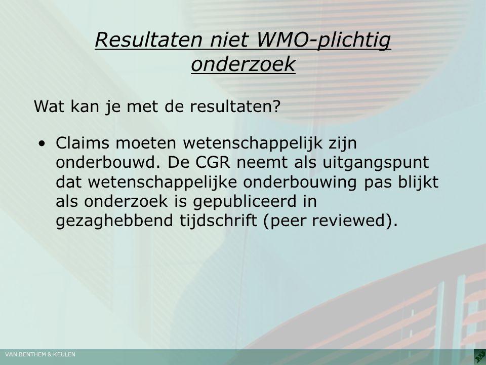 Resultaten niet WMO-plichtig onderzoek