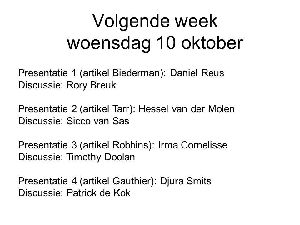 Volgende week woensdag 10 oktober